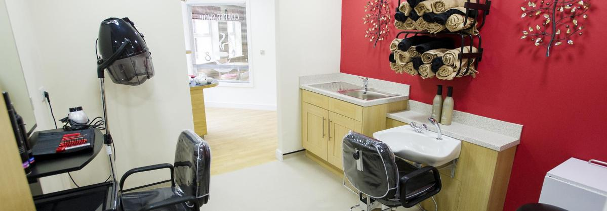 The contemporary hair dressing salon at Castlecroft Residential Care Home.