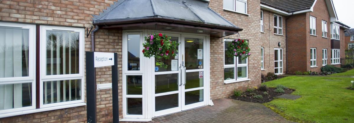 The front entrance of the Heathlands Residential Care Home
