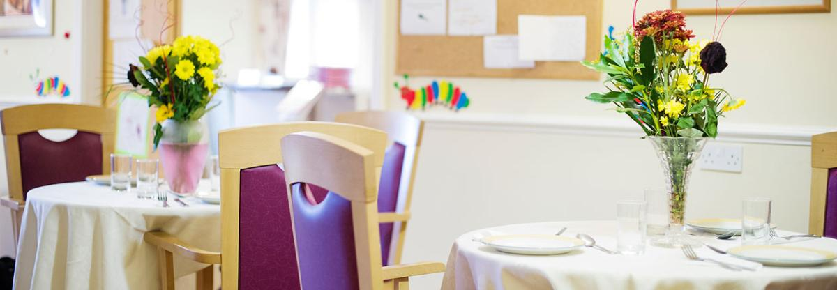 The dining room at Regent Residential Care Home