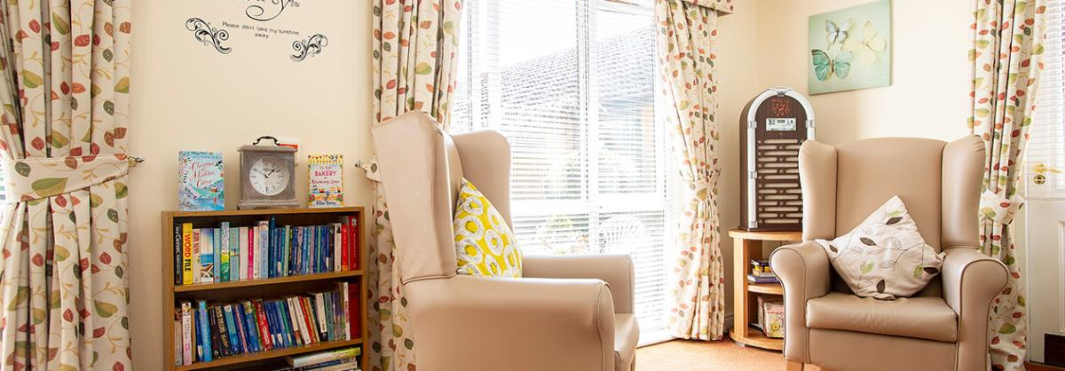 A quiet dementia friendly living area at Ashwood Park Residential and Nursing Home in Durham
