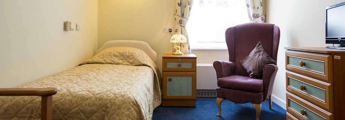 A typically furnished bedroom at Birchwood.
