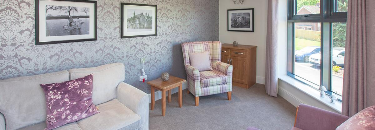 Lounge area at Briggs Lodge Residential and Nursing Home in Wiltshire
