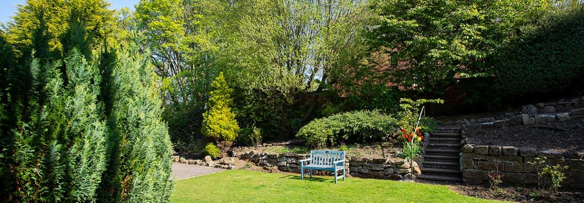 Rear gardens at Dunollie Residential and Nursing Home in Scarborough