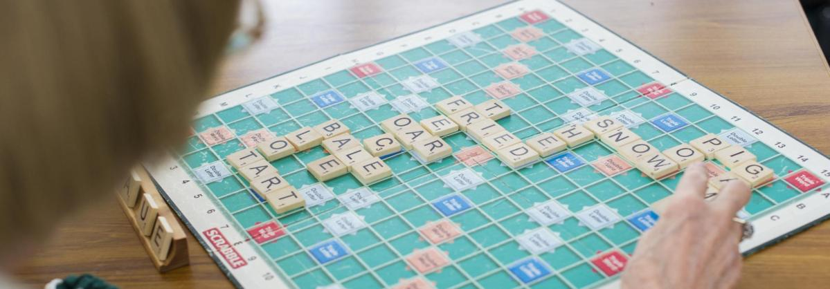 Residents playing Scrabble.