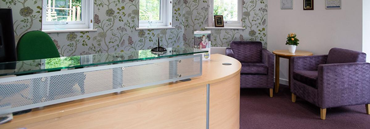 The reception area of Furzehatt Residential Care home