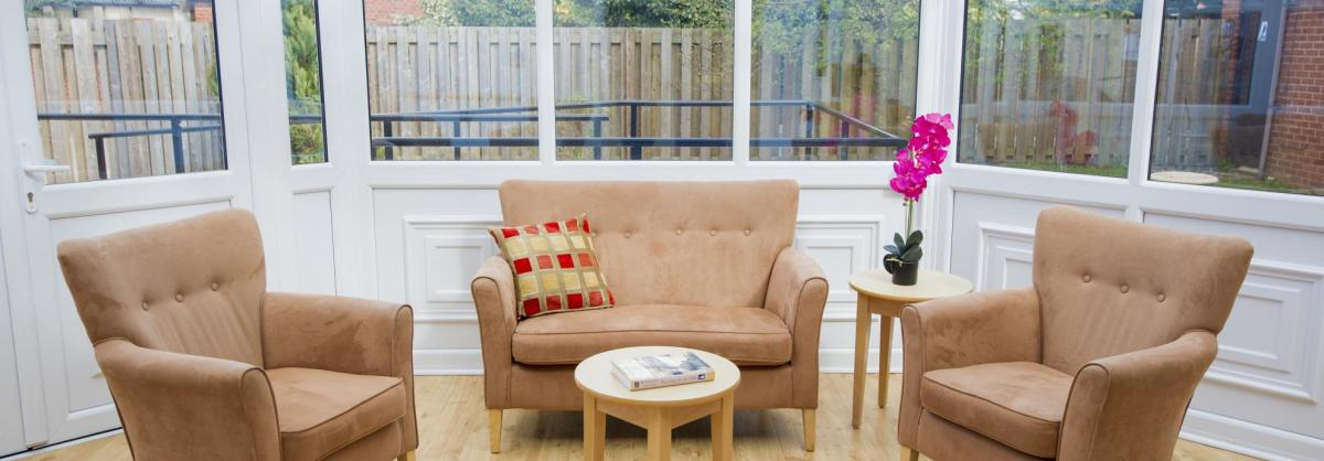 The bright and airy conservatory at the Greenslades Care Home.
