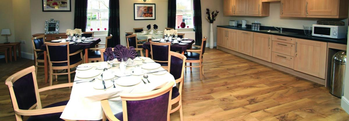 The open plan dining room at Highcroft Hall Residential Care Home.