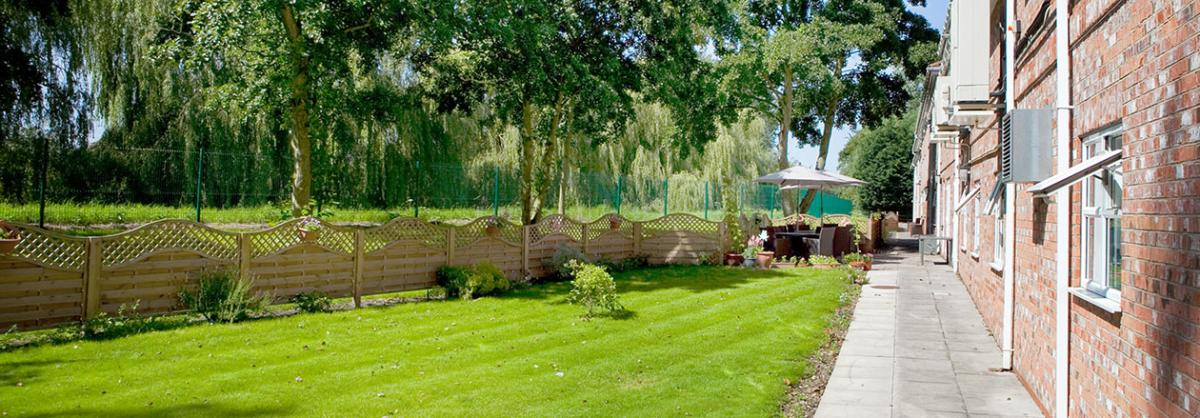 Beautiful gardens at Lake and Orchard Residential and Nursing Home in York