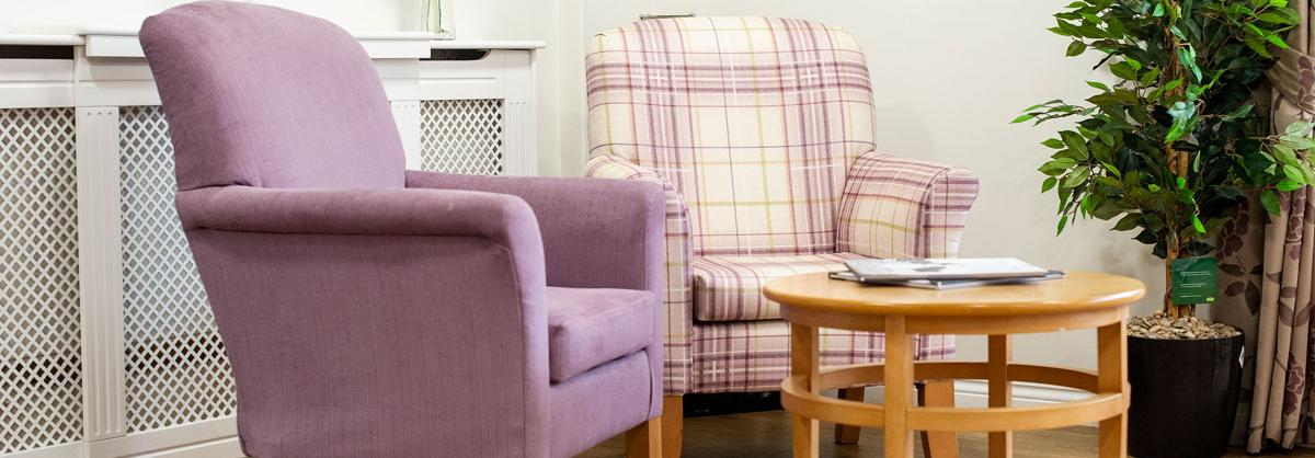 Communal lounge at Lammas House Residential Care Home