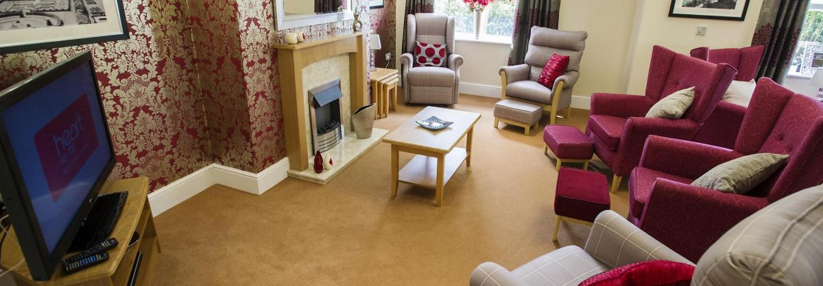 A stunning lounge with a TV and open fire at Lake View Residential Care Home.