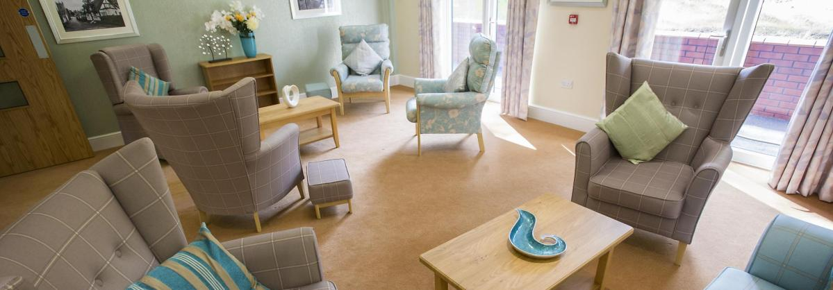 The beautifully decorated, comfortable lounge at the Lake View Residential Care Home.