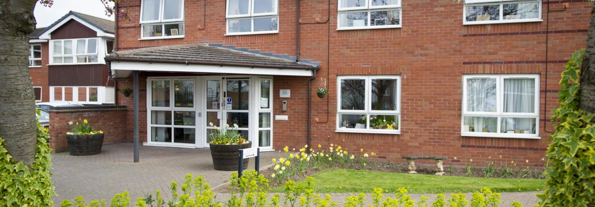 The front garden and entrance to the Regent Residential Care Home.