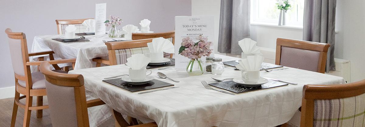 Dining area at Rushyfields Residential and Nursing Home in Durham