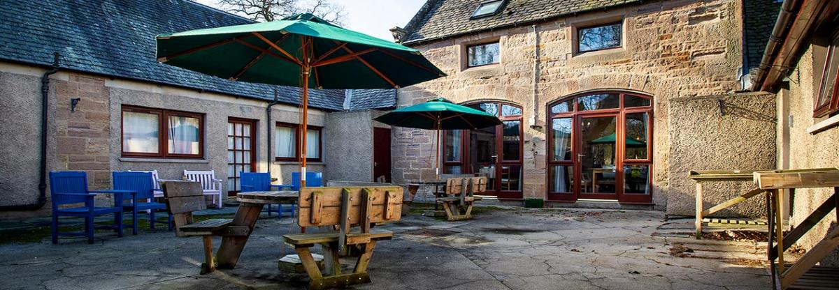 Outside seating area at Tyneholm Stables in East Lothian