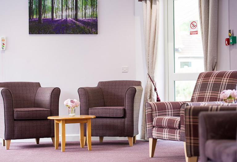 Comfortable seating in the residents lounge.