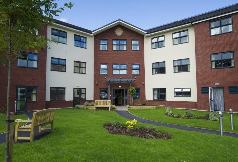 The front gardens and entrance of the Lake View Residential Care Home.