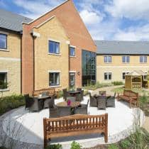 The outside seating in the beautifully landscaped gardens at Juniper House Residential Care Home.