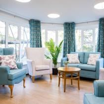 Communal Lounge and windows at Basingfield Court