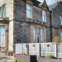 Exterior and rear gardens at Camilla House in Edinburgh