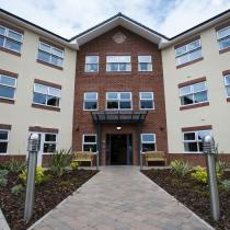 The front path leading to the entrance of the modern Lime Tree Court Residential Care Home.