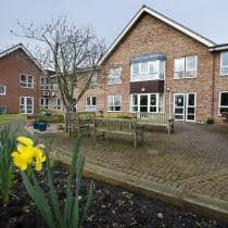 The front garden and entrance to the Heathlands Residential Care Home.