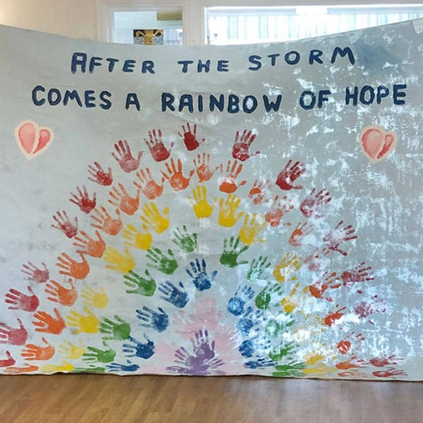 Rainbow of hope at Birchwood Court Care Home