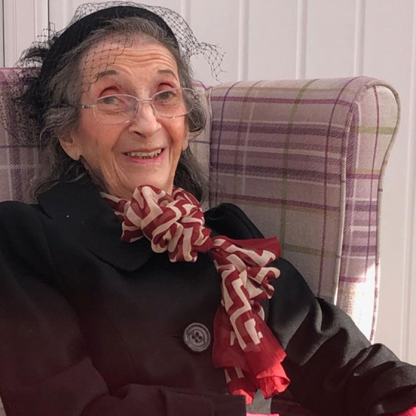 Haven Residential Care Home Resident Sarra Black smiles for the camera when her daughter visits her at the care home in Pinner