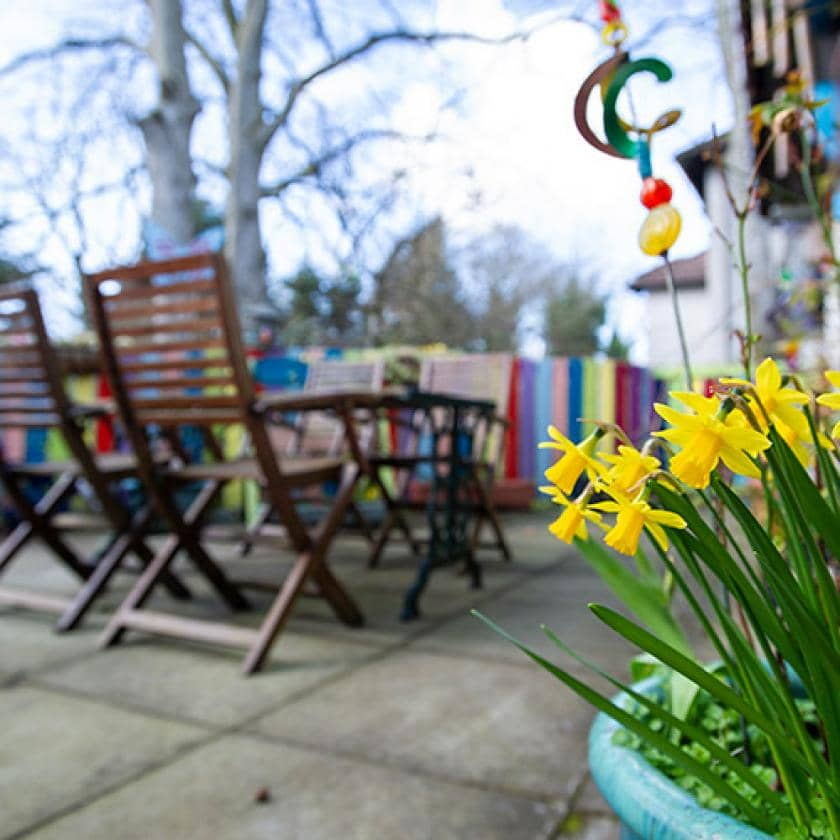 Outdoor seating and gardens at Birch House
