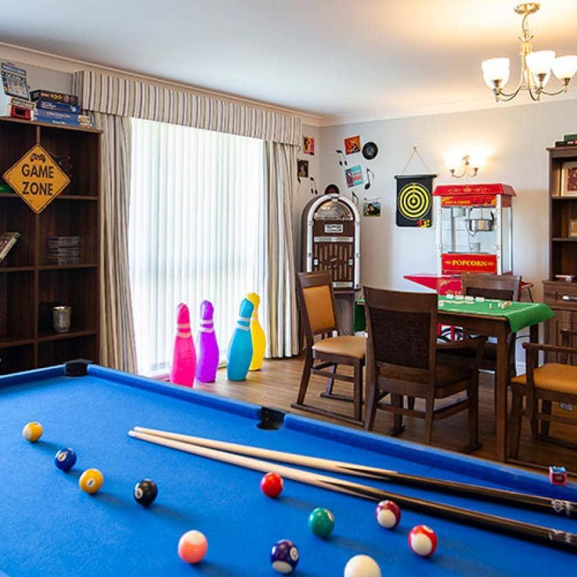 Games room at Birchwood Court
