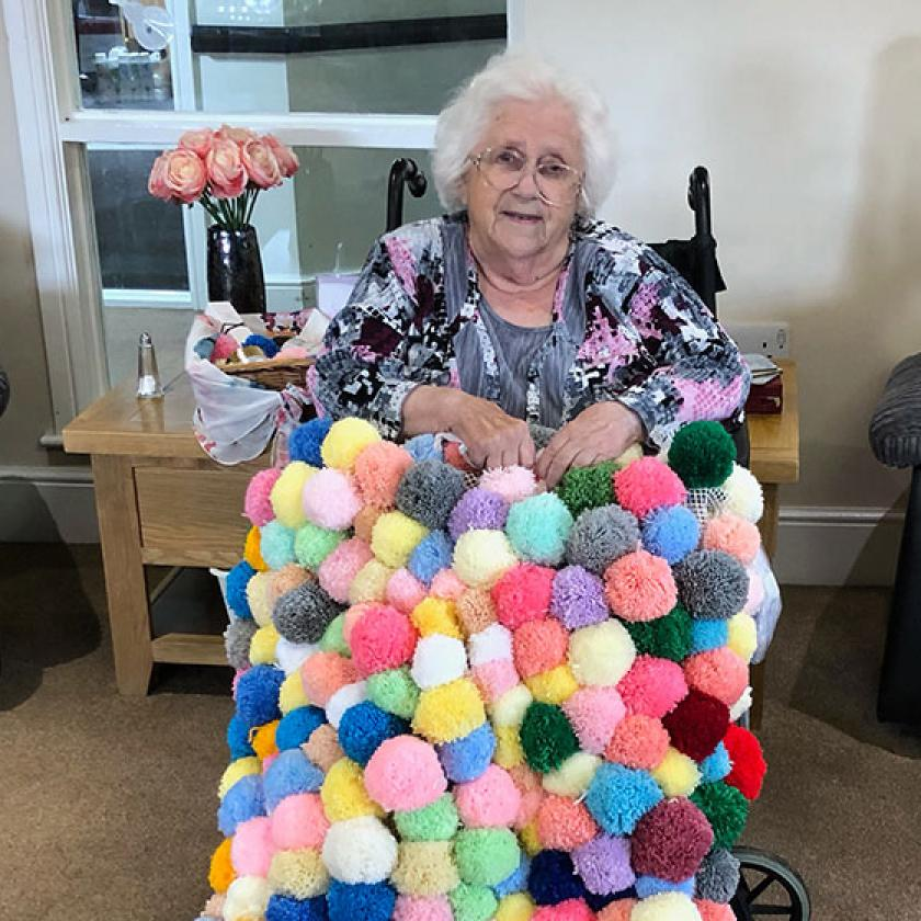 Brenda Moroz with her blanket at Highcroft Hall Residential Care Home in Wolverhampton
