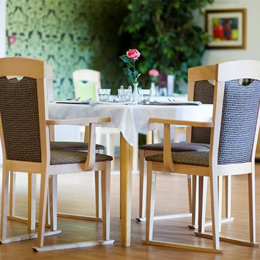 The dining area at the residential and nursing home in Milton Keynes.