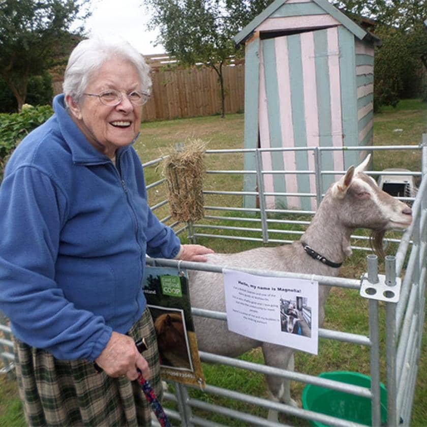 Don Thomson resident with a goat