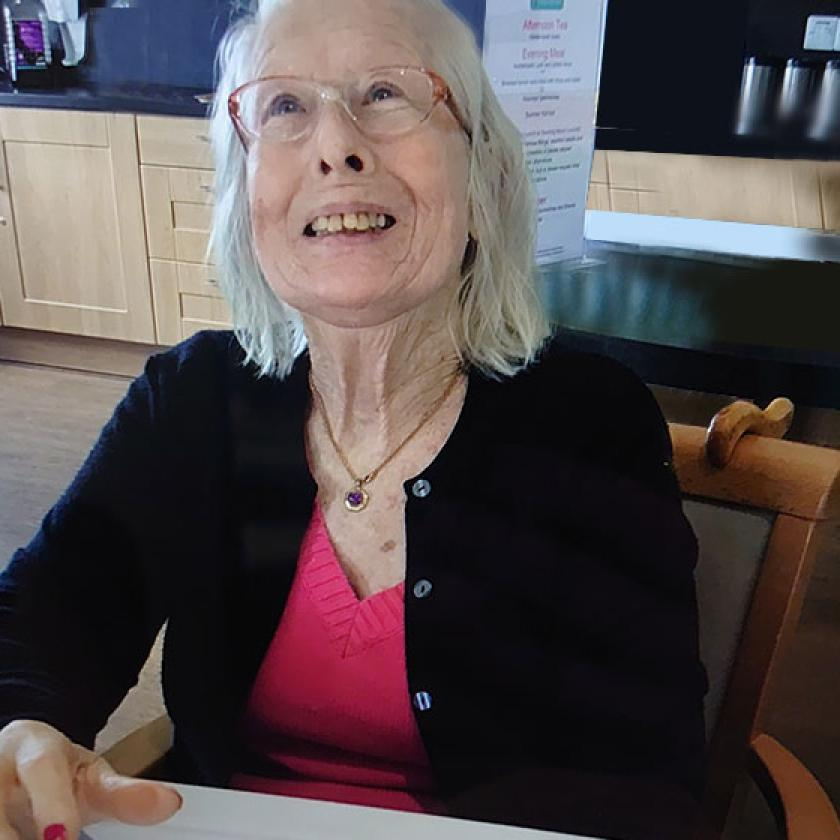 Doris Bosley at Briggs Lodge Residential and Nursing Home in Devizes, where she lives with dementia