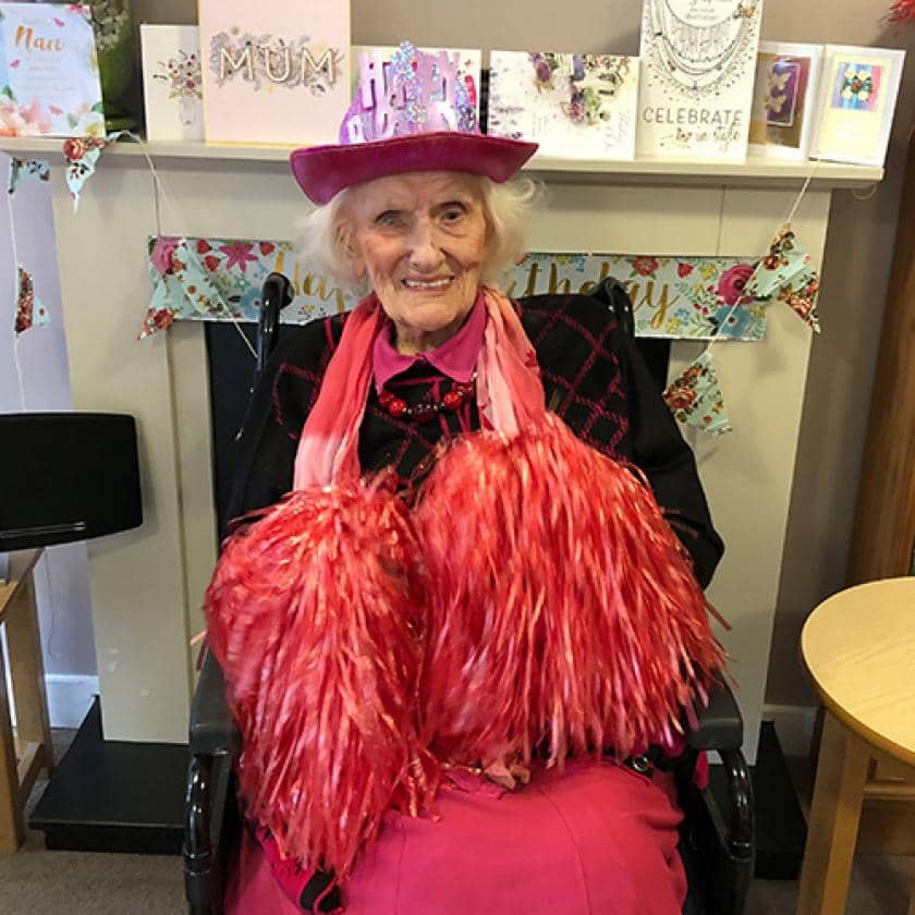 Edna celebrating her 103rd birthday