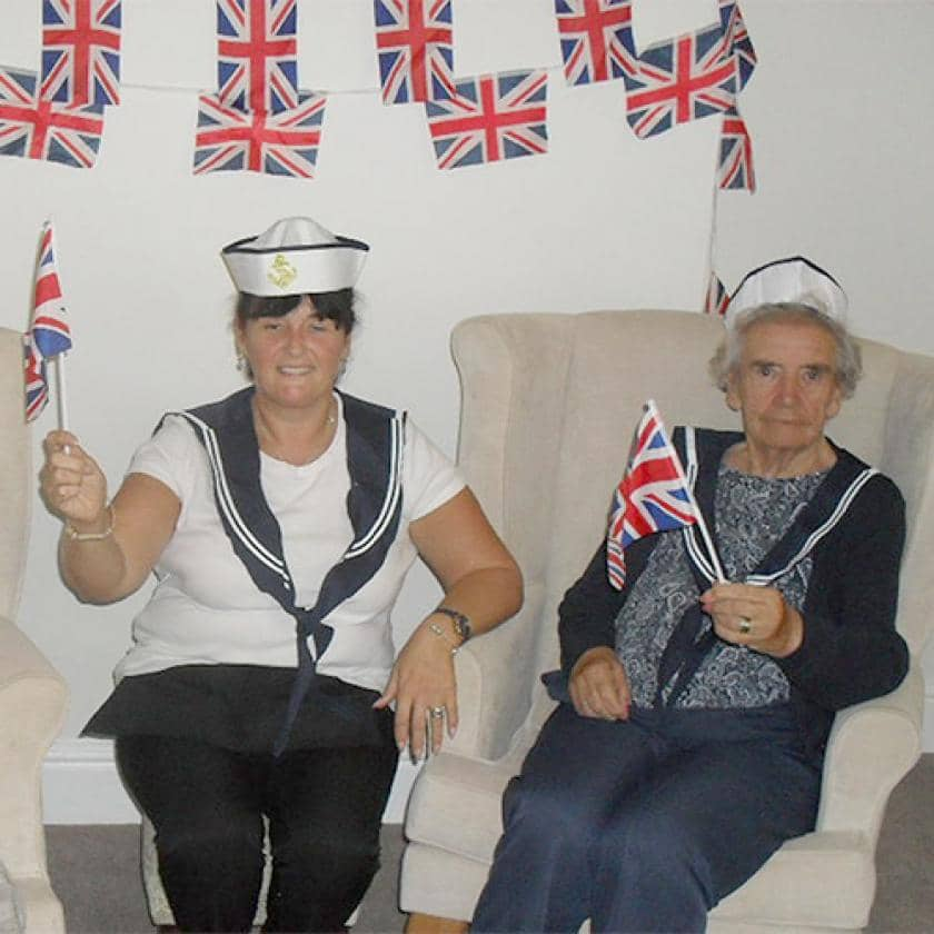 Resident Briony Corby, Activities Leader Suzie Davis and resident Jean Coumbe.