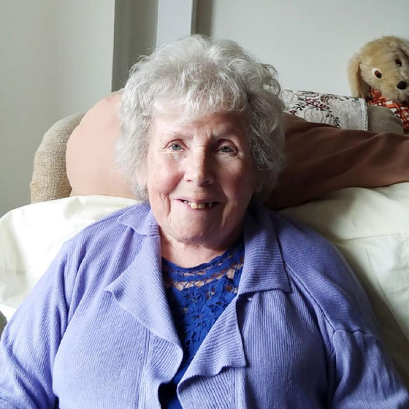 Shaftesbury House residential care resident Ginny sits in her bedroom at the Ipswich care home