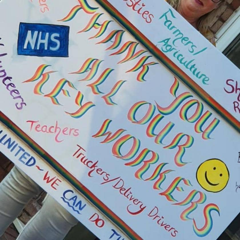 The thank you sign from our Heathlands residents