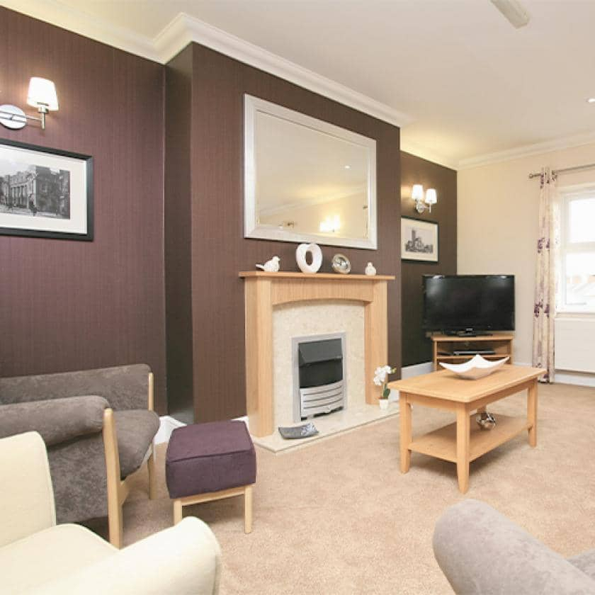 Lounge for residents at Highcroft Hall