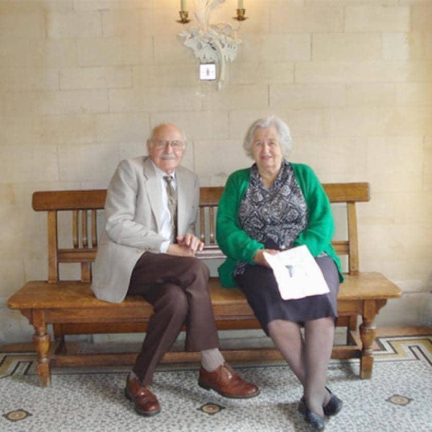 Bob Eaton and Betty Eaton posing for photograph