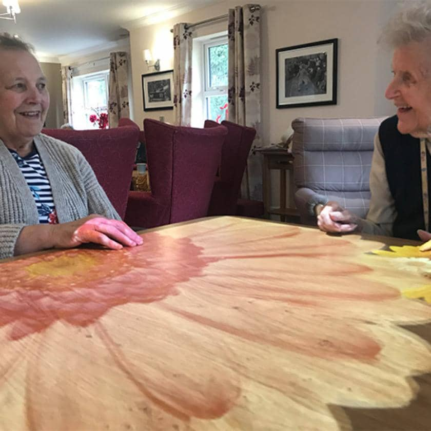 Residents using the new 'Magic Table' at Lake View