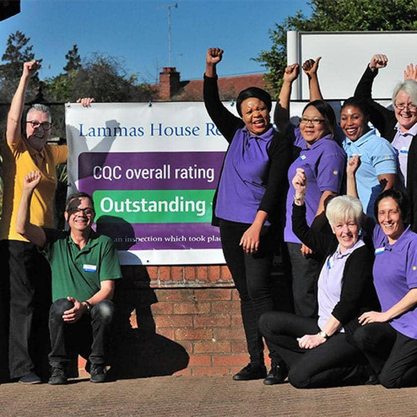 Lammas House staff celebrating their CQC rating