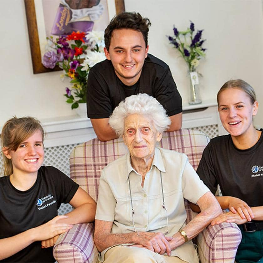 Student paramedics with one of our Sanctuary Care resident