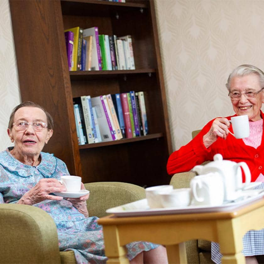 Lammas house residents having tea