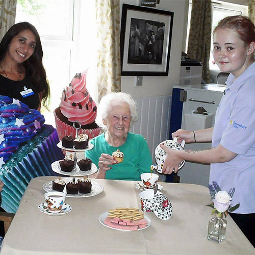 Lime Tree staff and residents enjoy cupcakes