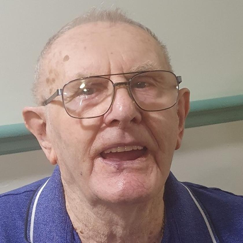 Park View Residential Care Home resident, Jim Hughes, is beaming with happiness