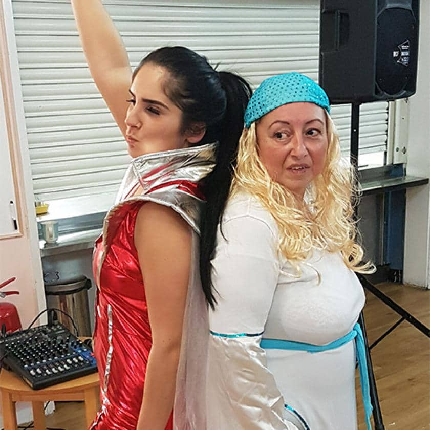 Staff from Pinewood Residential Care Home dressed up as Abba