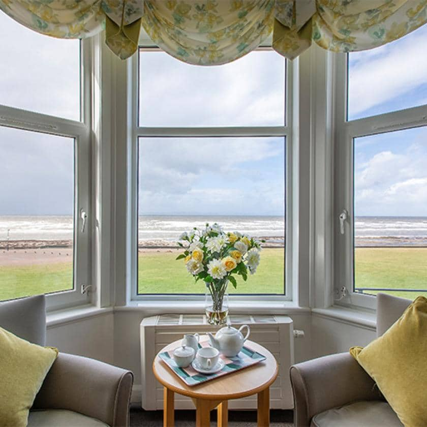 Lounge and view at Queens care home