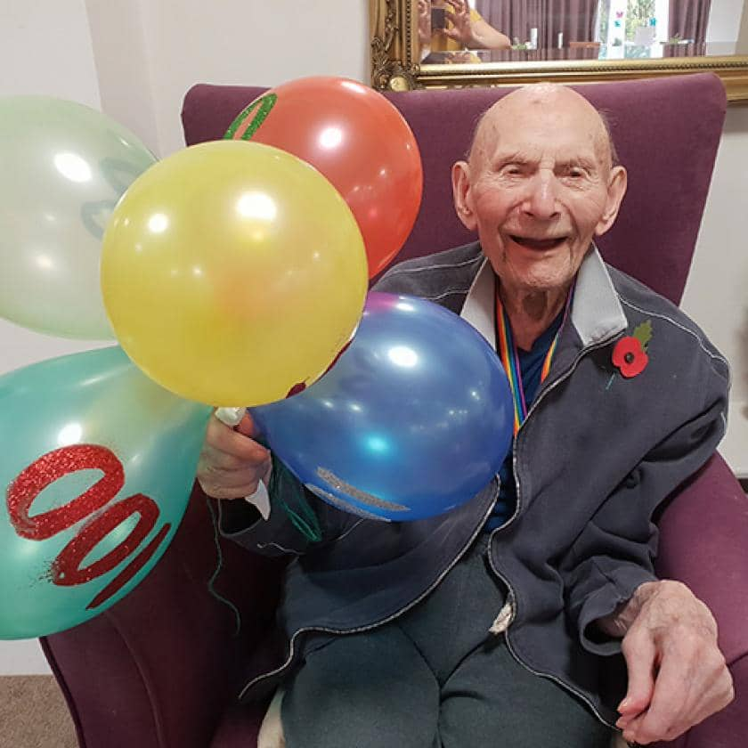 Resident celebrating his 100th birthday at Basingfield Court
