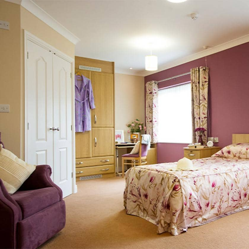 Residents bedroom at The Beeches care home