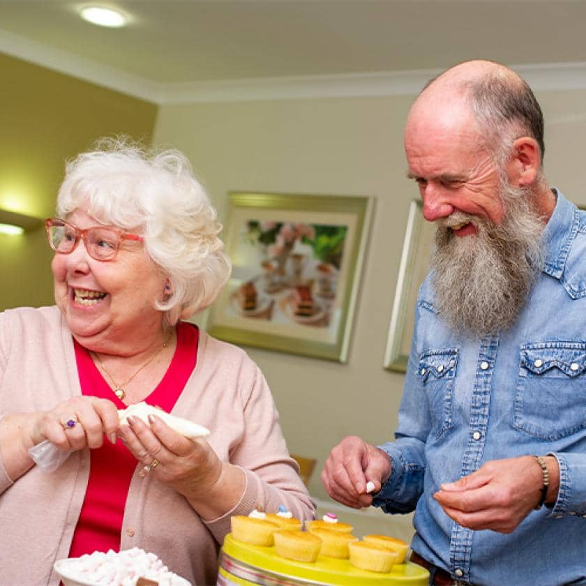 Sanctuary Care residents making cakes